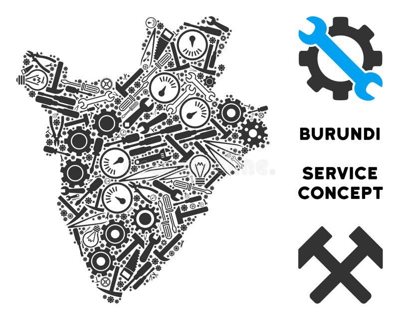 Mapa de Burundi del mosaico de las herramientas de la reparación libre illustration