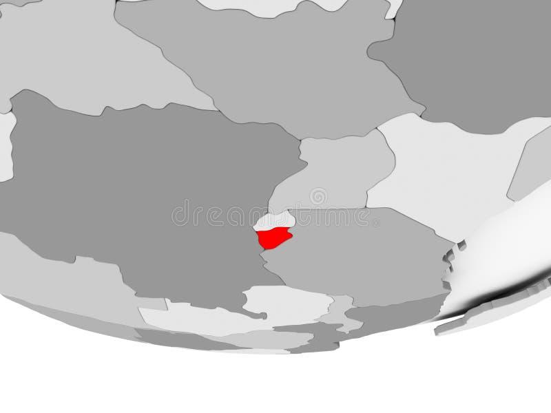 Mapa de Burundi en el globo político gris libre illustration