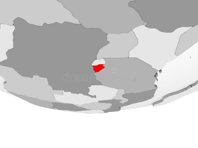 Mapa de Burundi en el globo político gris stock de ilustración