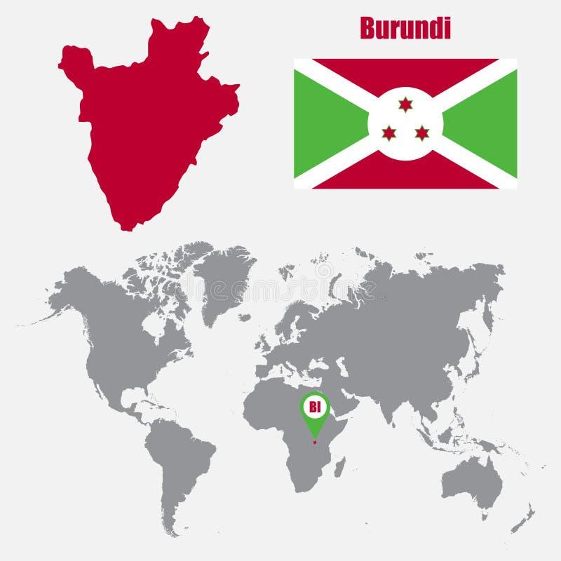 Mapa de Burundi en un mapa del mundo con el indicador de la bandera y del mapa Ilustración del vector libre illustration