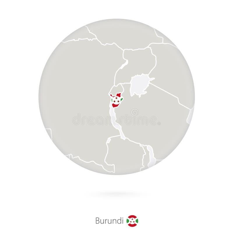 Mapa de Burundi y de la bandera nacional en un círculo ilustración del vector