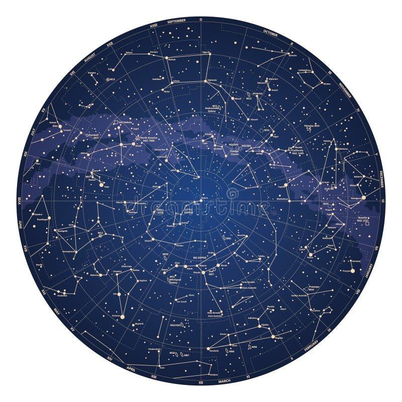 Mapa de céu detalhado alto do hemisfério Norte com nomes das estrelas ilustração royalty free