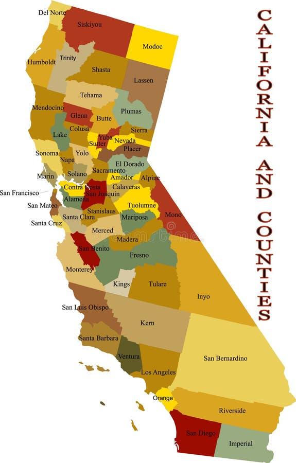 Mapa de Califórnia. ilustração royalty free