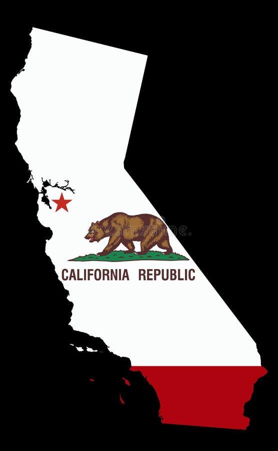 Mapa de Calif?rnia colorido pela bandeira do estado de Calif?rnia isolada no preto ilustração stock