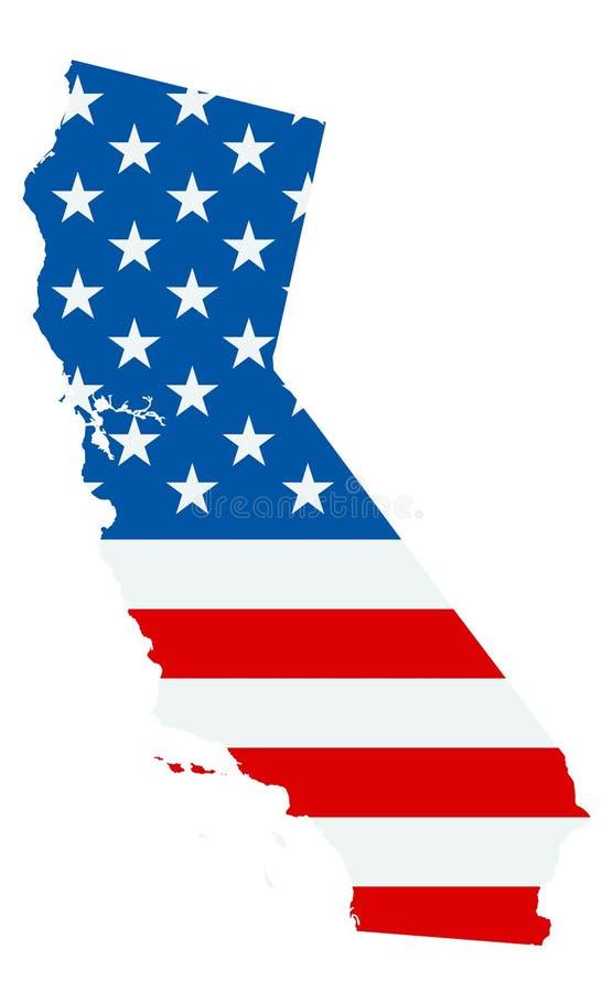 Mapa de Califórnia colorido pela bandeira dos EUA isolada no branco ilustração do vetor