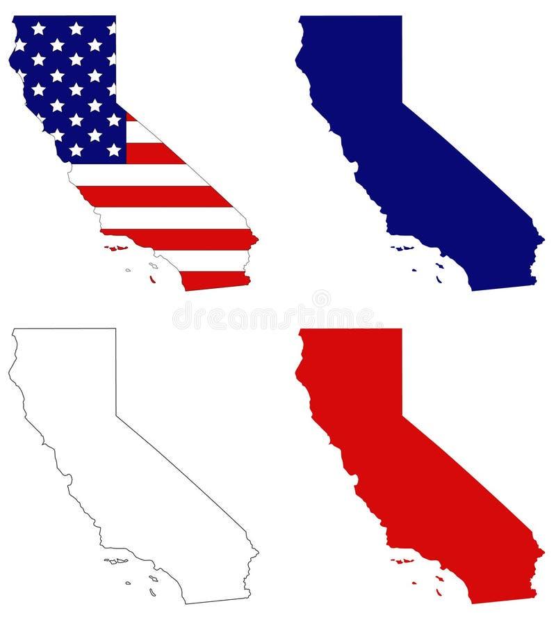 Mapa de Califórnia com bandeira dos EUA - estado na região do Pacífico do Estados Unidos ilustração do vetor