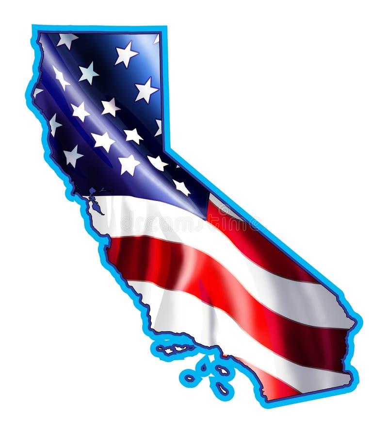 Mapa de Califórnia com ilustração da bandeira ilustração royalty free