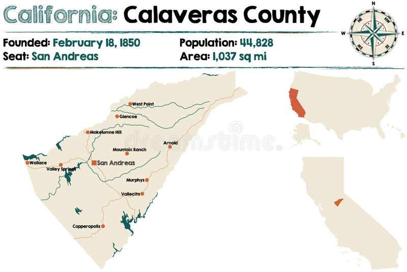 Mapa de Califórnia - de Calaveras County ilustração do vetor