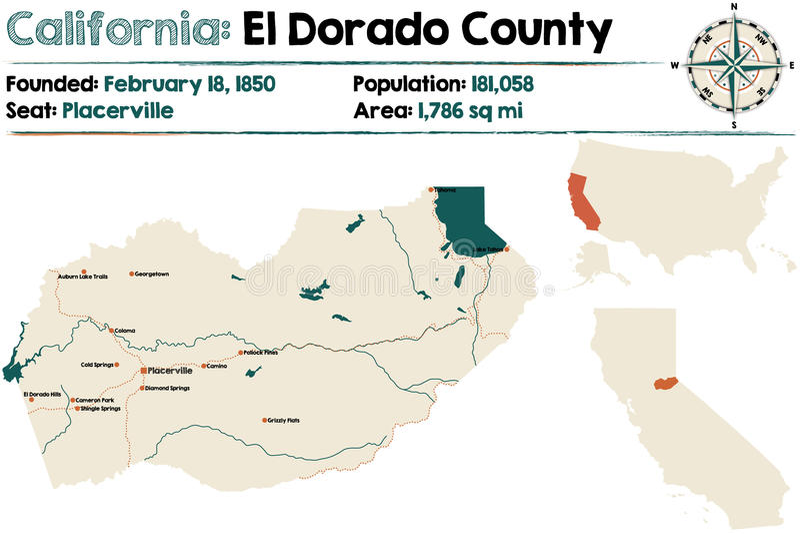 Mapa de Califórnia - de El Dorado County ilustração do vetor