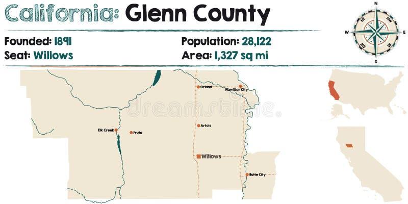 Mapa de Califórnia - de Glenn County ilustração royalty free