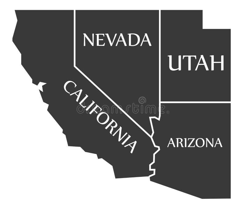 Mapa de Califórnia - de Nevada - de Utá - de Arizona etiquetado preto ilustração royalty free
