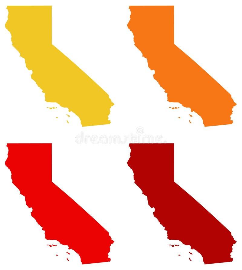 Mapa de Califórnia - estado na região do Pacífico do Estados Unidos ilustração royalty free