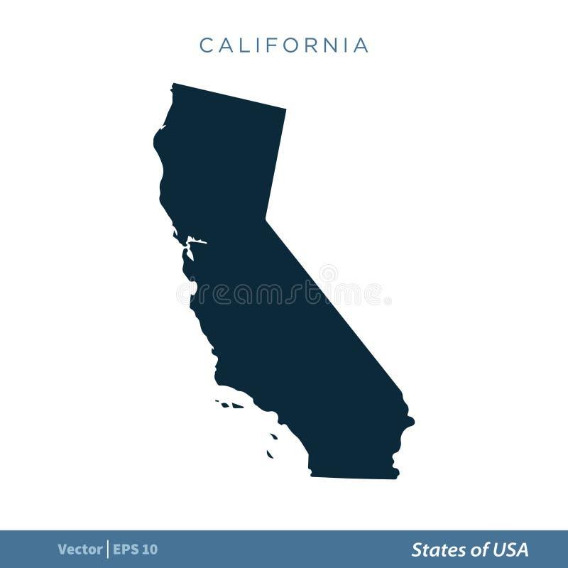Mapa de Califórnia - estados de projeto da ilustração do molde do vetor do ícone do mapa dos E.U. ilustração royalty free