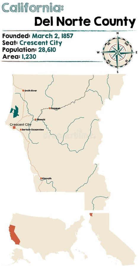 Mapa de California - del condado de Del Norte ilustración del vector