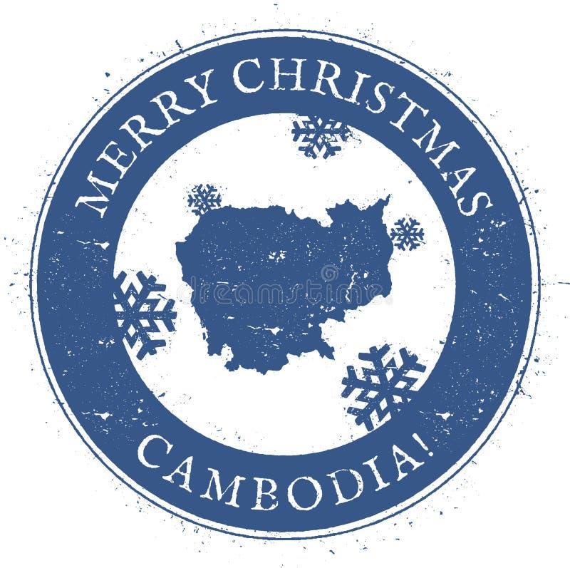 Mapa de Camboya Feliz Navidad Camboya del vintage ilustración del vector