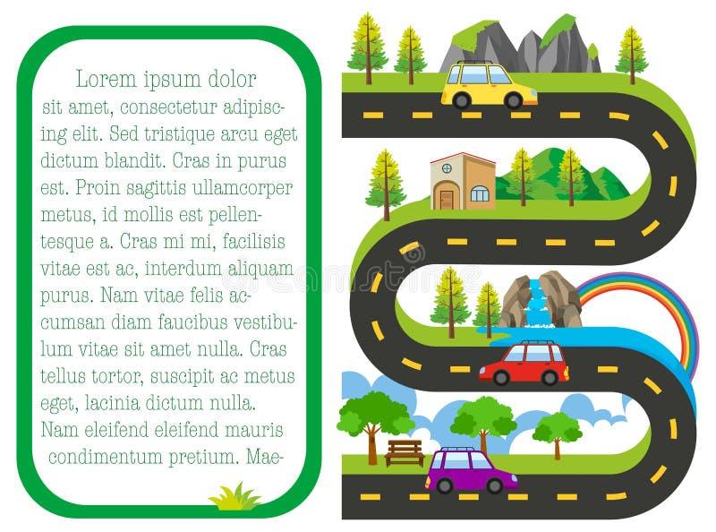 Mapa de camino con los coches en el camino libre illustration