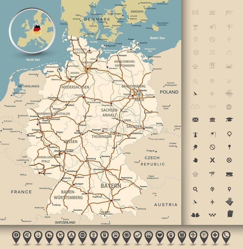 Mapa de camino de Alemania ilustración del vector