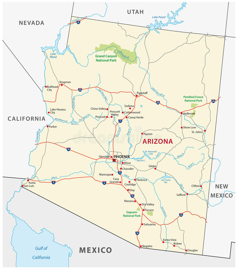 Mapa de camino de Arizona libre illustration