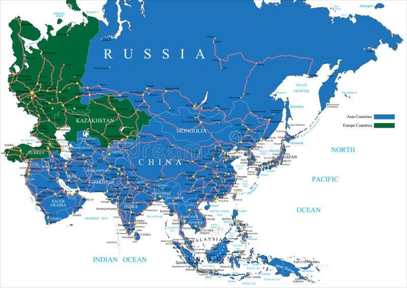 Mapa de camino de Asia libre illustration