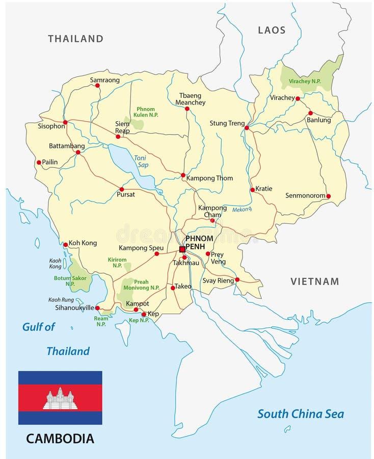 Mapa de camino de Camboya con la bandera stock de ilustración