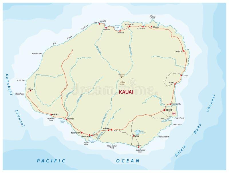 Mapa de camino de Kauai ilustración del vector