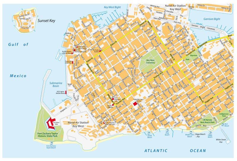 Mapa de camino de Key West con nombres del camino stock de ilustración