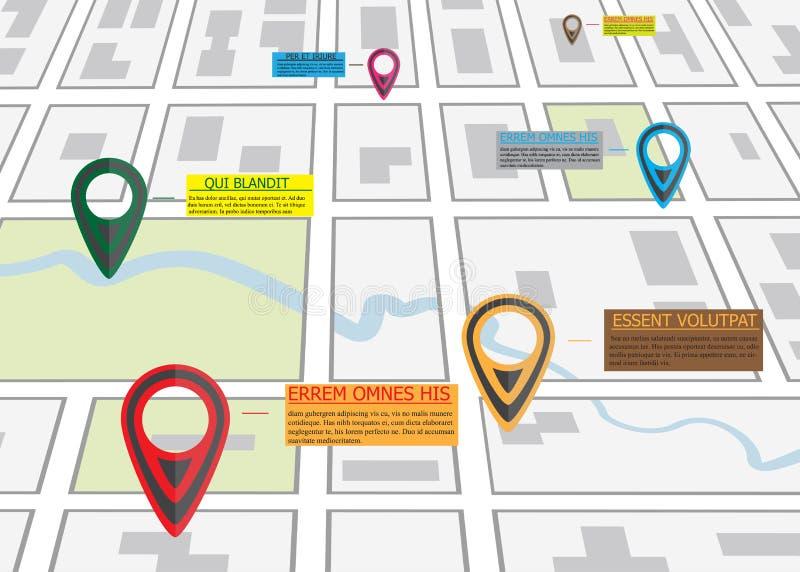 Mapa de camino de la calle, infographics del negocio con el indicador colorido del perno stock de ilustración