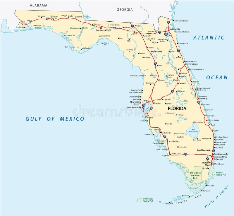 Mapa de camino de la Florida ilustración del vector
