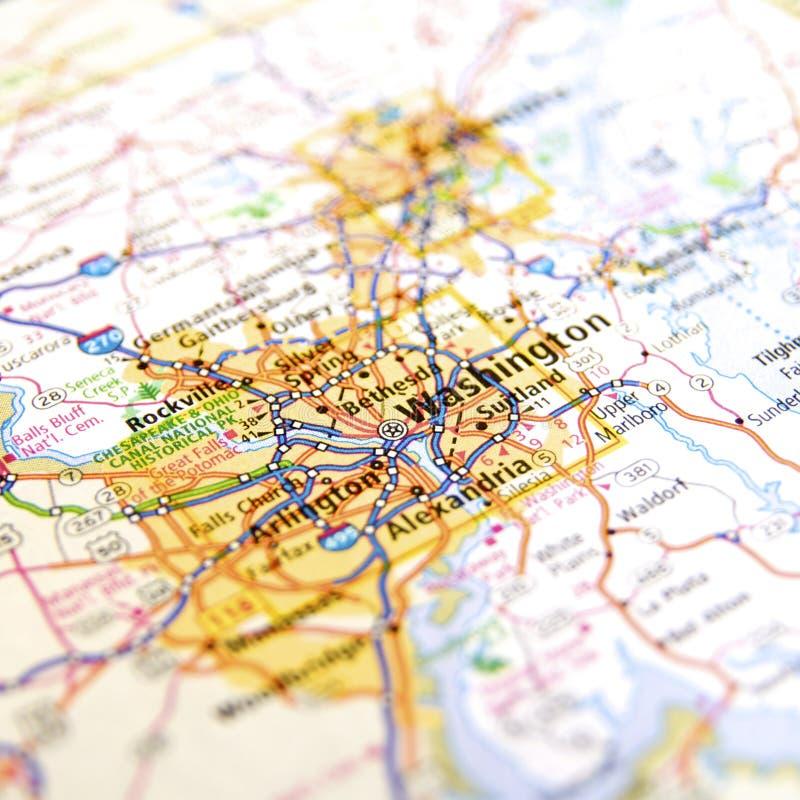 Mapa de camino de Virginia alrededor de Washington D C imagenes de archivo