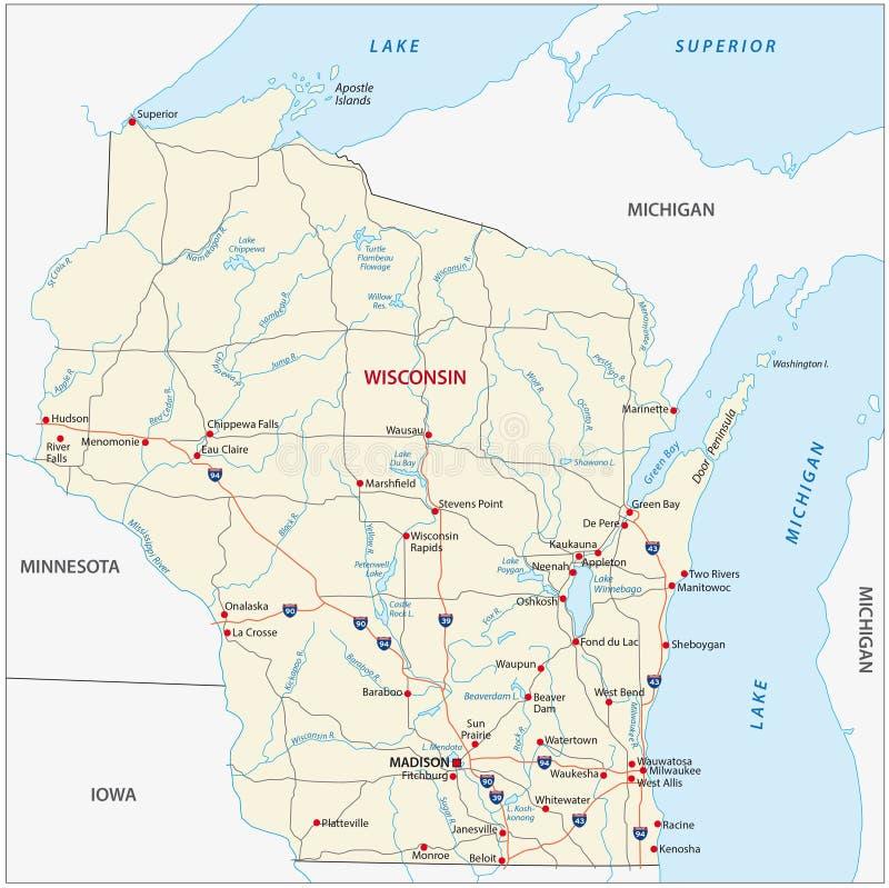 Mapa de camino de Wisconsin ilustración del vector