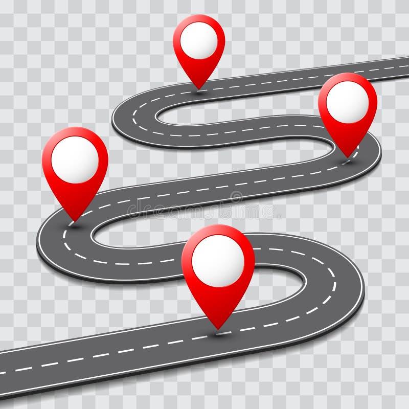 Mapa de camino del camino del vector con el icono del perno de la ruta de GPS ilustración del vector
