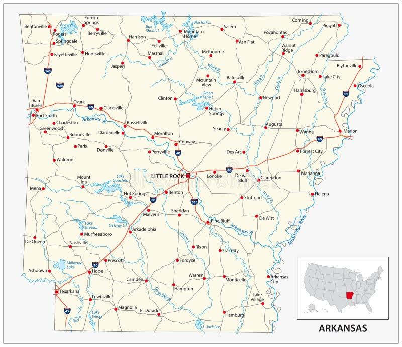 Mapa de camino del estado americano de los E.E.U.U. de Arkansas libre illustration