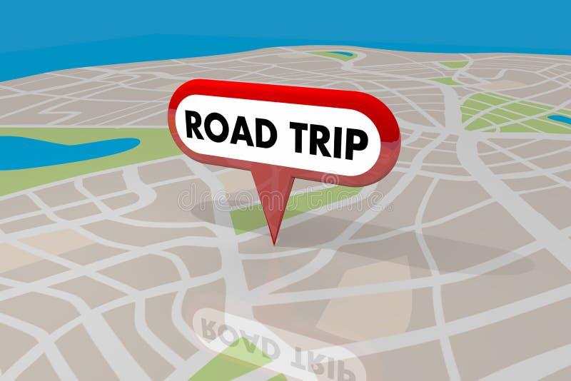 Mapa de caminos del planificador del viaje del viaje por carretera Pin Spot Route 3d Illustratio ilustración del vector