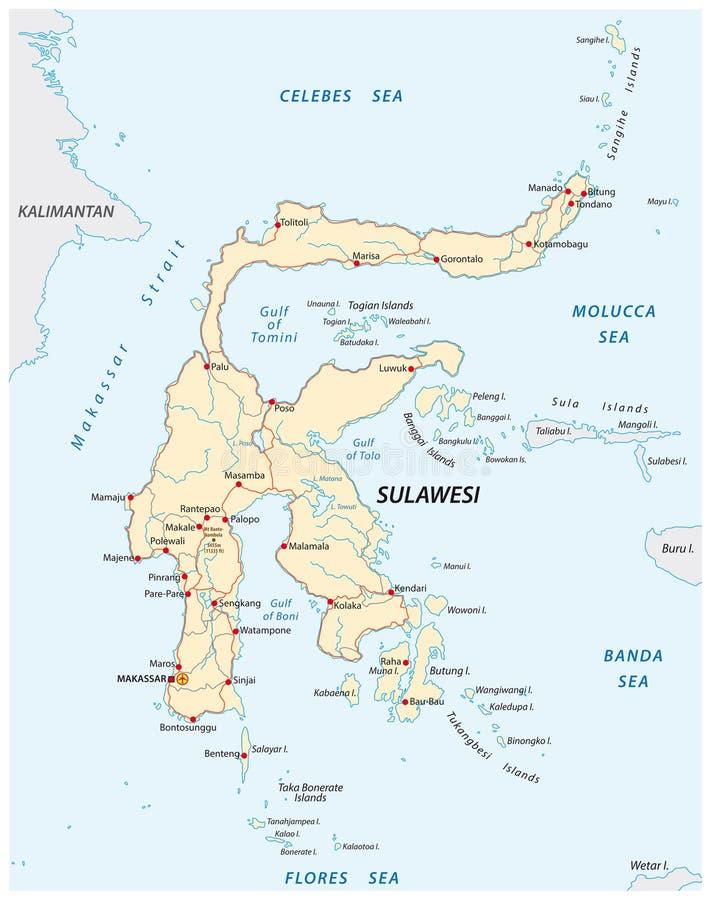 Mapa de caminos del vector de la isla indonesia Sulawesi ilustración del vector