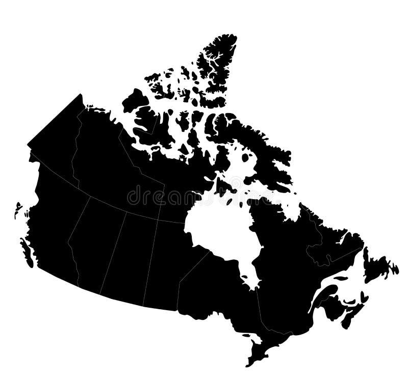 Mapa de Canadá ilustração stock