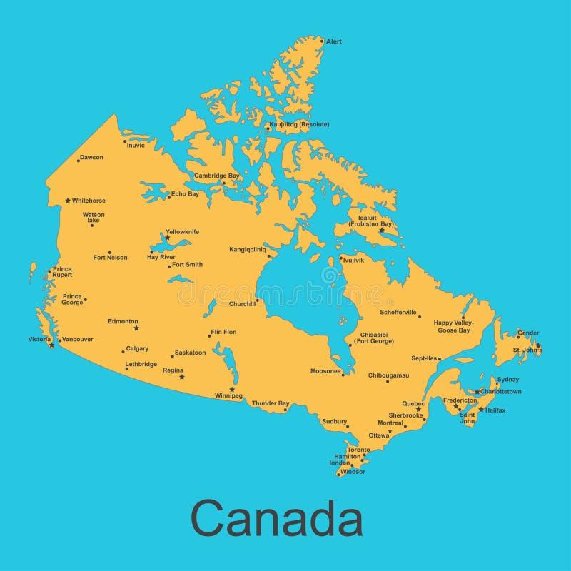 Mapa de Canadá com cidades em um fundo azul, ilustração do vetor ilustração do vetor