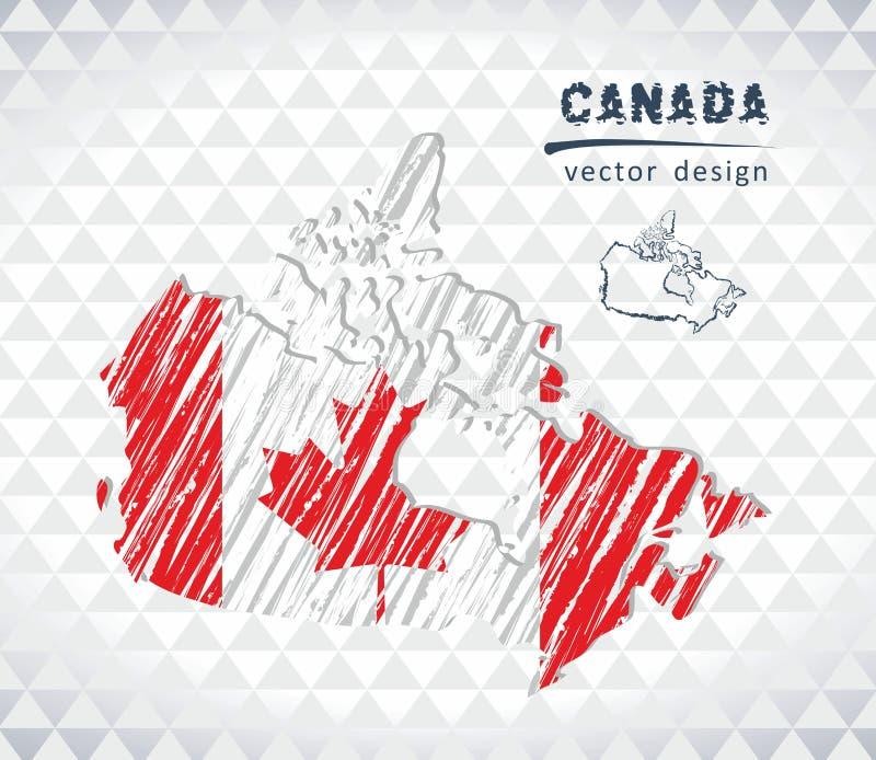 Mapa de Canadá com o mapa tirado mão da pena do esboço para dentro Ilustração do vetor ilustração do vetor
