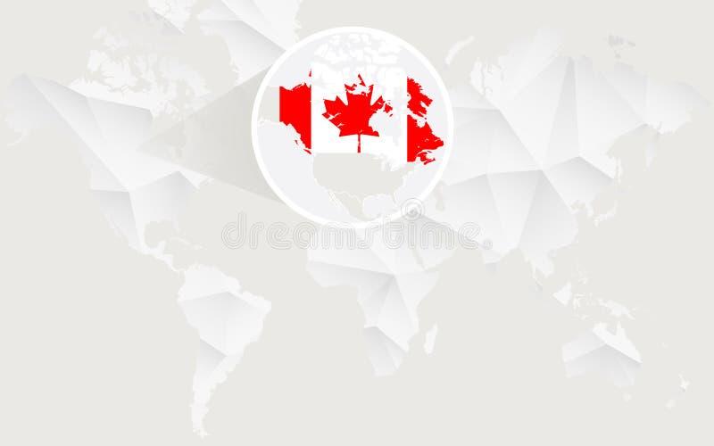 Mapa de Canadá con la bandera en contorno en el mapa del mundo poligonal blanco stock de ilustración