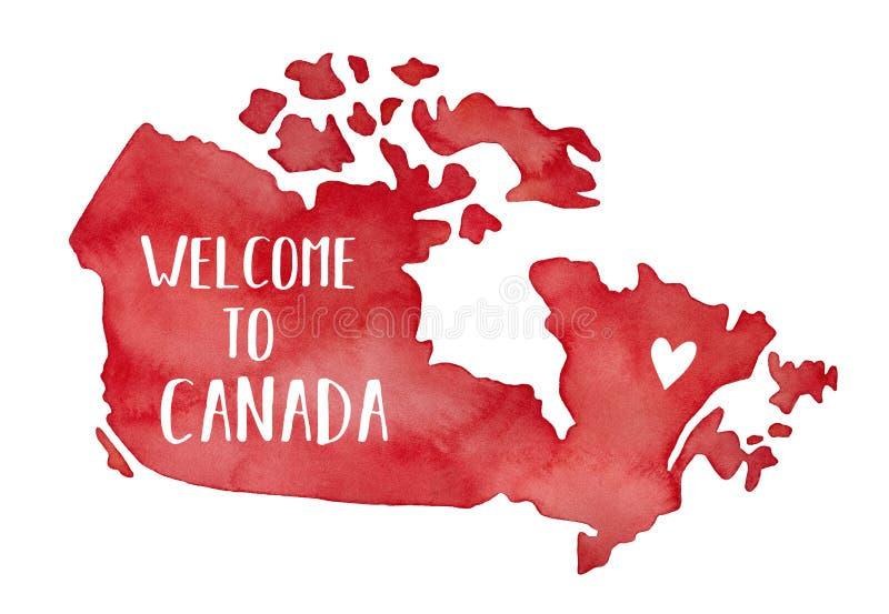 Mapa de Canadá con poco corazón y frase del amor en lengua inglesa: 'Recepción a Canadá ' libre illustration