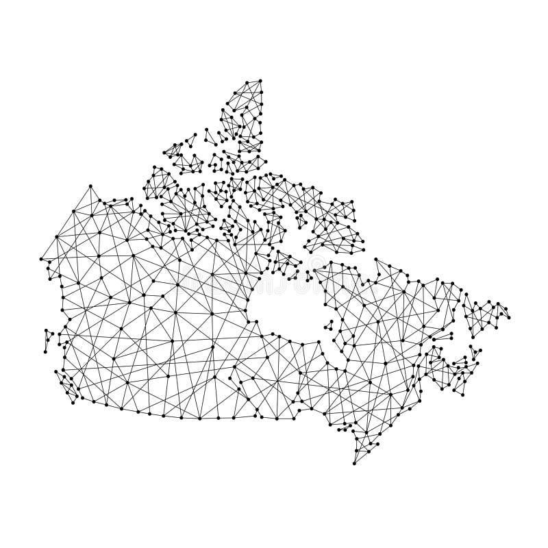 Mapa de Canadá das linhas pretas poligonais, pontos da ilustração ilustração do vetor