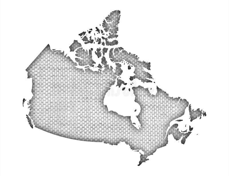 Mapa de Canadá no linho velho ilustração do vetor