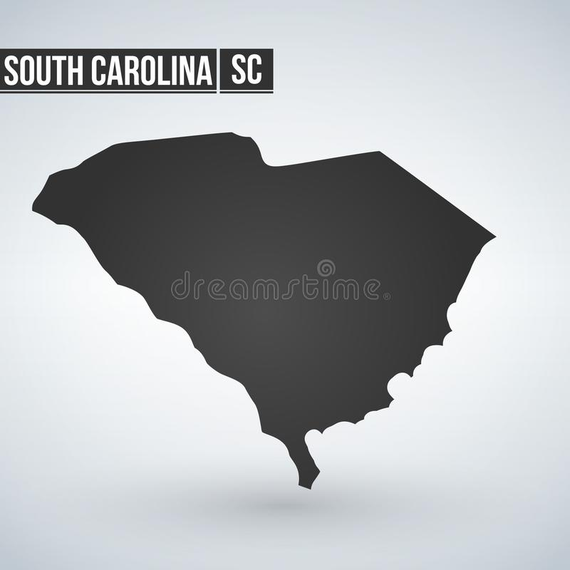 Mapa de Carolina del Sur en gris en un fondo blanco ilustración del vector