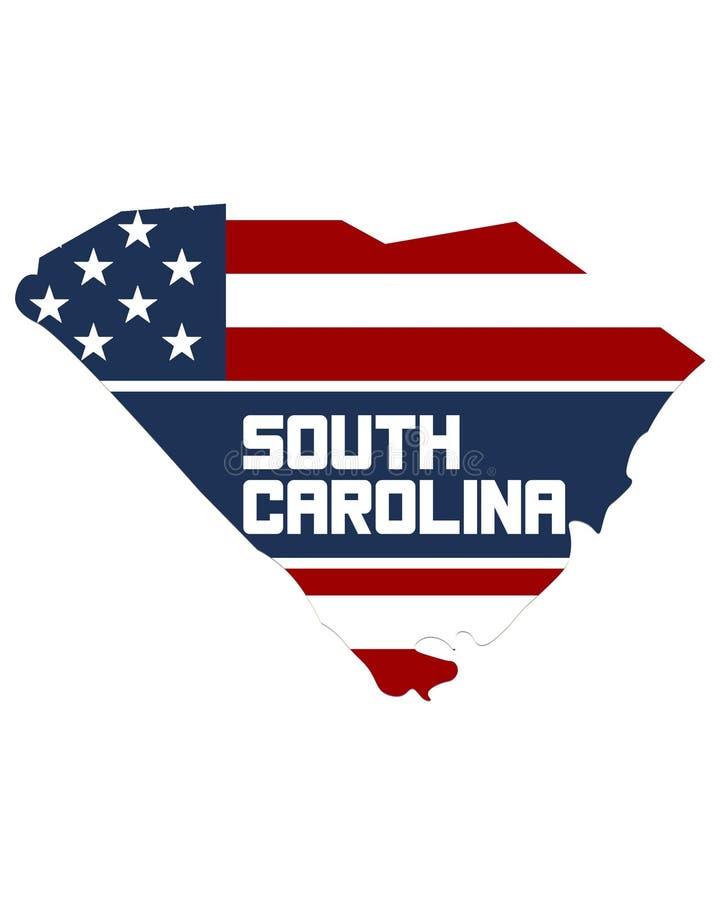 Mapa de Carolina State del sur ilustración del vector