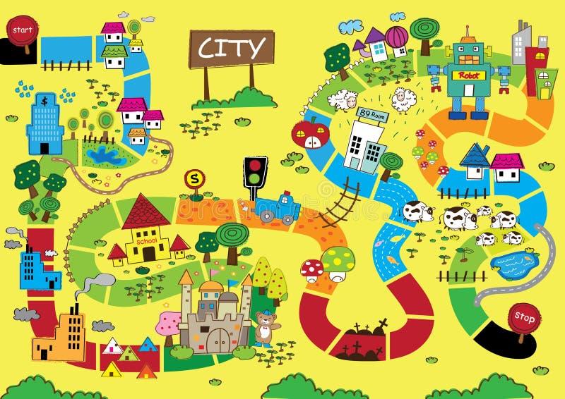Mapa de Catoon da cidade ilustração do vetor