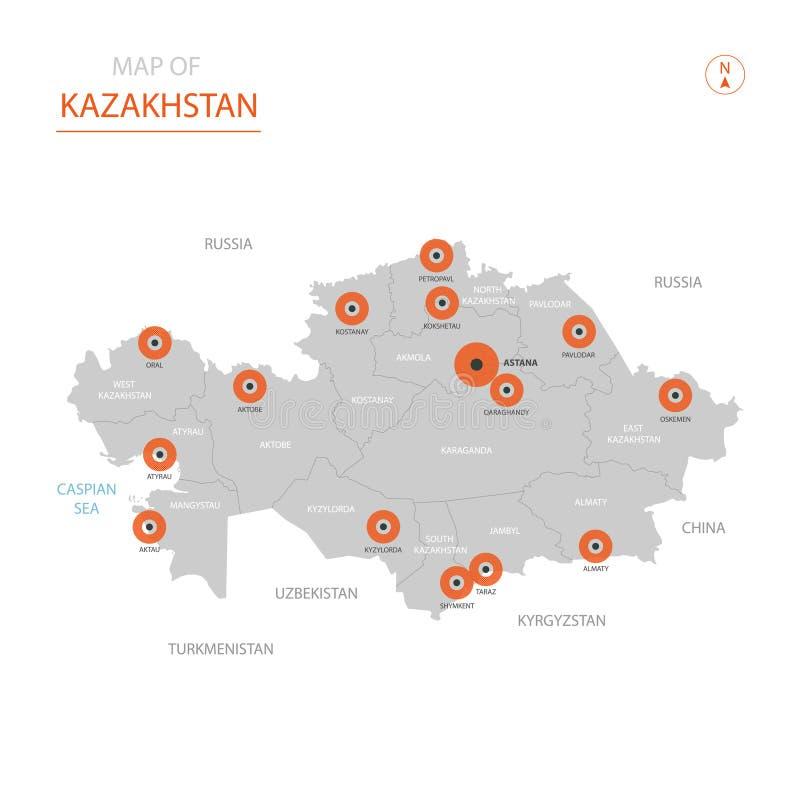 Mapa de Cazaquistão com divisões administrativas ilustração do vetor