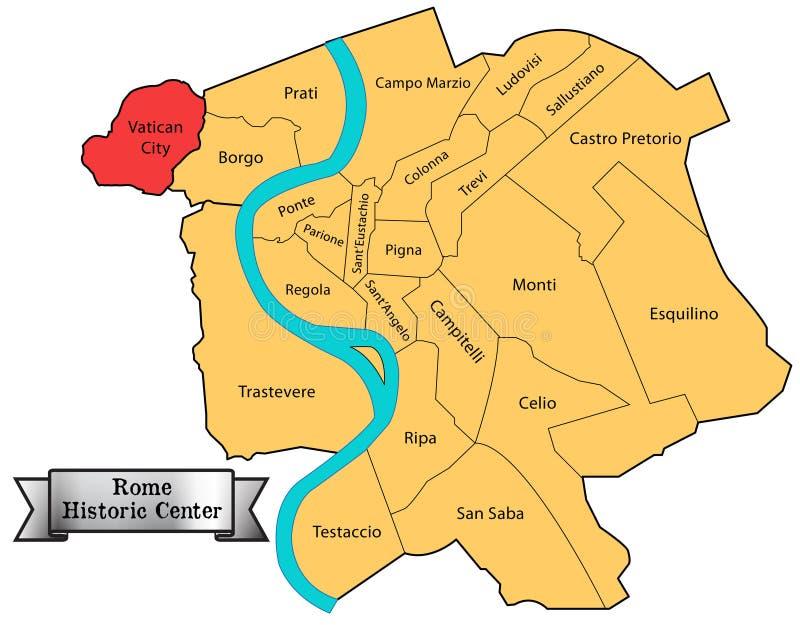 Mapa de centro histórico de Roma ilustración del vector