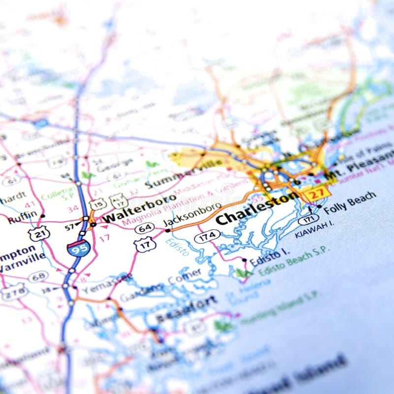 Mapa de Charleston imagem de stock