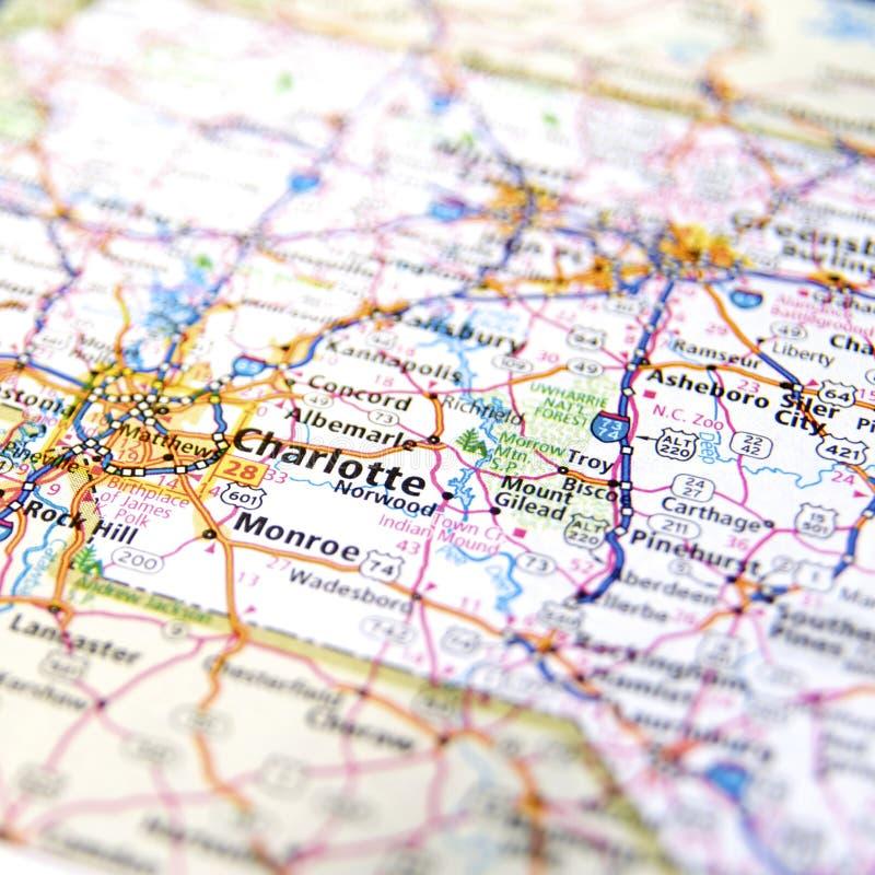 Mapa de Charlotte imagens de stock