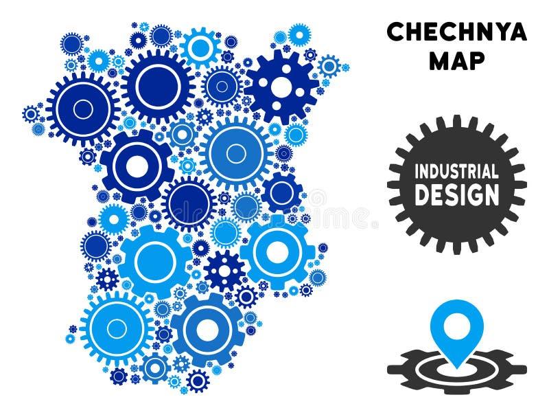 Mapa de Chechnya da colagem das engrenagens ilustração stock