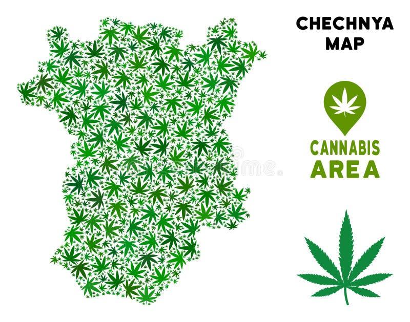 Mapa de Chechnya da colagem do cannabis do vetor ilustração stock